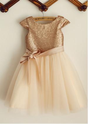 88f3c9b511 Champagne Sequin Tulle Knee Length Flower Girl Dress