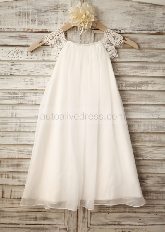 Chiffon Lace Cap Sleeves Flower Girl Dress