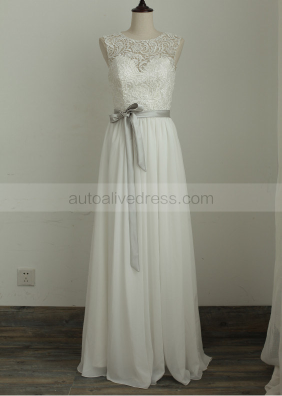 A Line Modest Lace Chiffon Wedding Dress