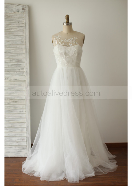 Ivory Tulle Embroidery Long Wedding Dress