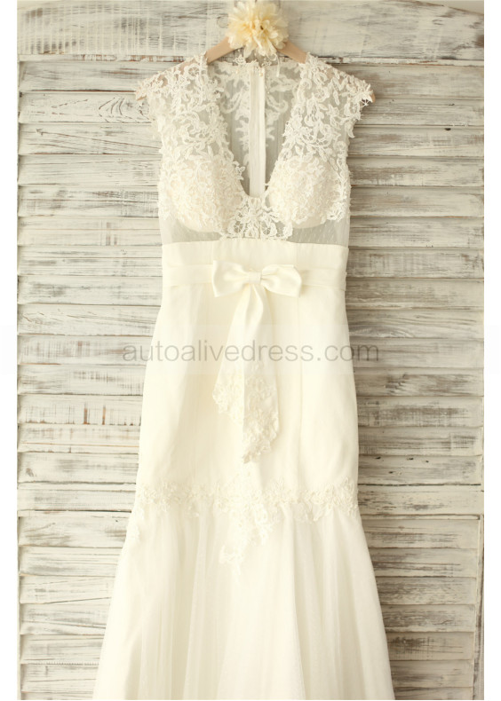 Sheer Ivory Lace Dots Tulle Decorated Pearl Buttons Back Floor Length Wedding Dress