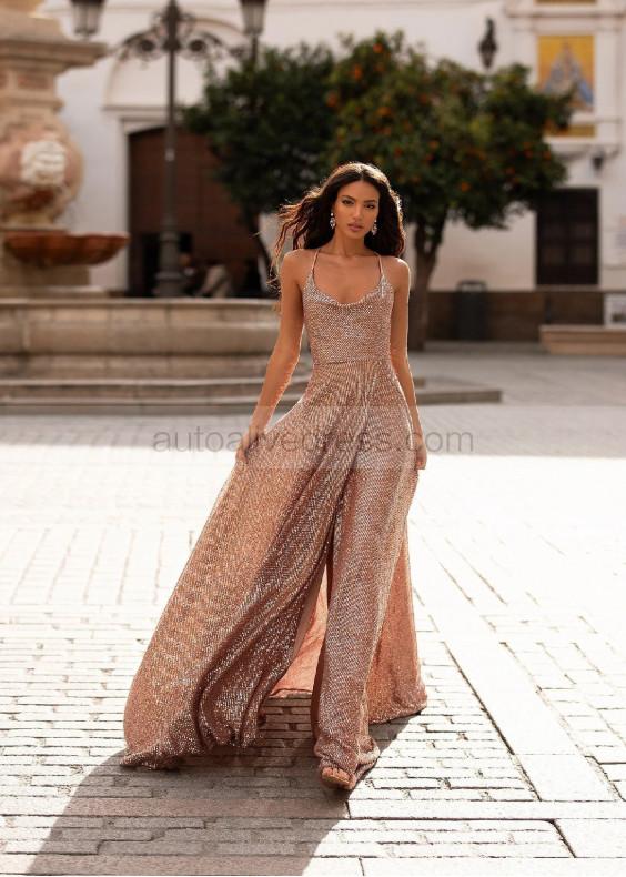 Cowl Neck Rose Gold Sequin Hidden Slit Evening Dress