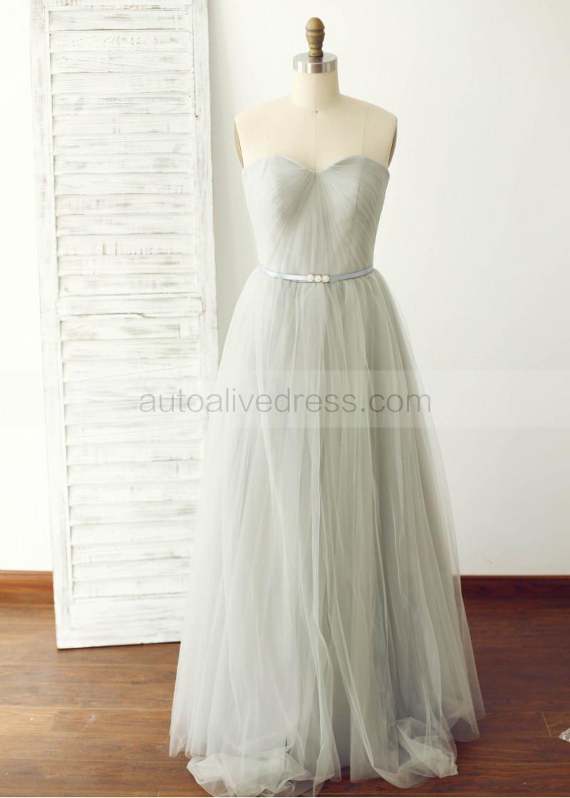 silver tule bridesmaid dress