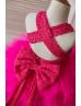 Hot Pink Lace Tulle Cross Back Knee Length Flower Girl Dress