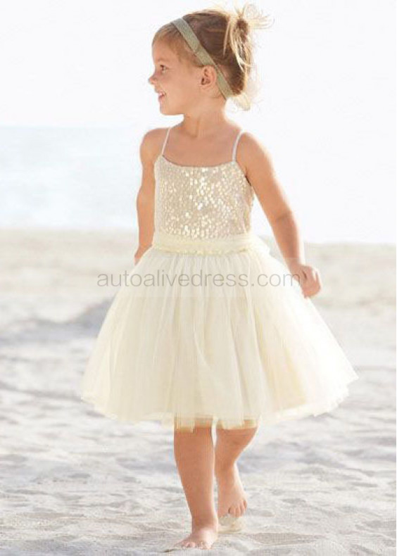 Thin Straps Gold Sequin Ivory Tulle Knee Length Flower Girl Dress With Tulle Sash