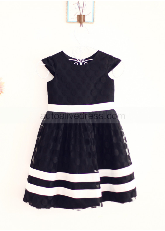 Black Dots Tulle Lace Ivory Stripes Knee Length Flower Girl Dress