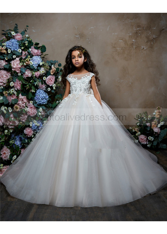 Beaded Ivory Lace Tulle Keyhole Back Long Flower Girl Dress