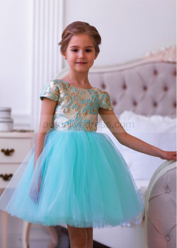 Tiffany Blue Jacquard Tulle Kids Tutu Dress Flower Girl Dress