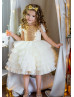Gold Sequin Ivory Tiered Tulle Flower Girl Dress