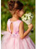 Cute Handmade Flowers Pink Satin Tulle Flower Girl Dress
