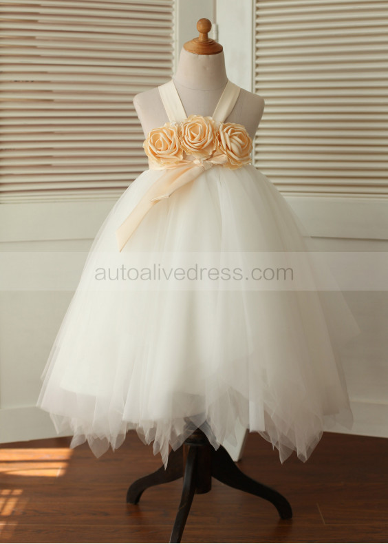 Champagne Satin Ruffle Tulle Tea Length Flower Girl Dress