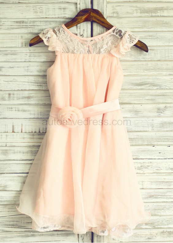 Blush Pink Lace Chiffon Knee Length Flower Girl Dress