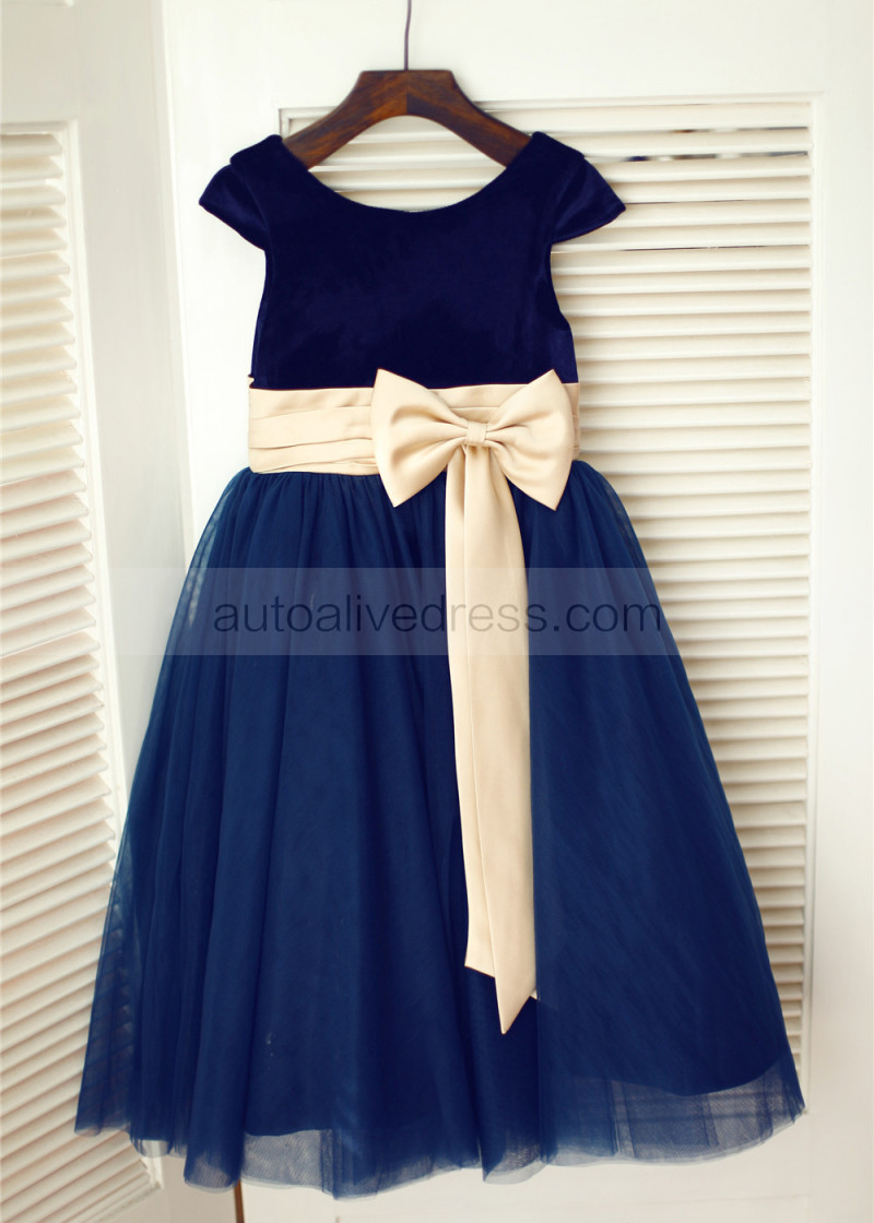 Navy Blue Velvet Tulle Tea Length Flower Dress