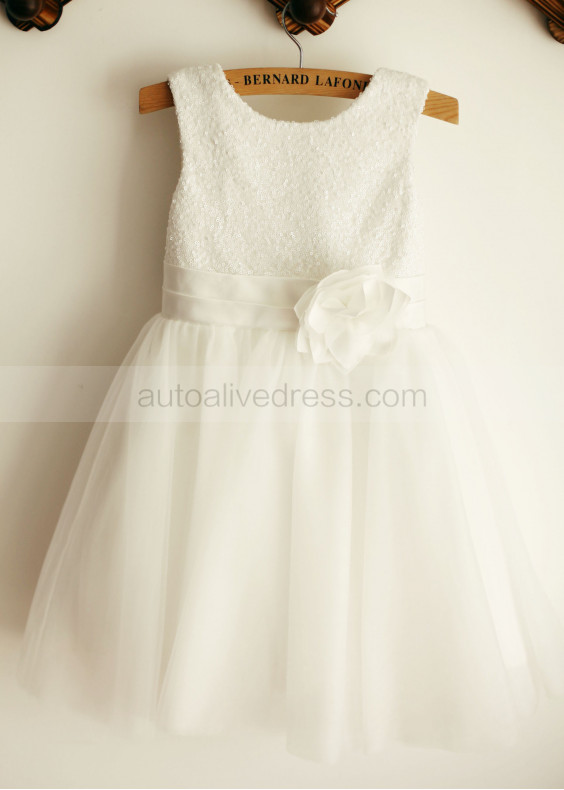 White Sequin Tulle Flower Girl Dress Knee Length