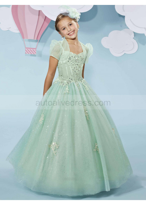 Beaded Sash Corset Back Sequin Tulle Floor Length Flower Girl Dress