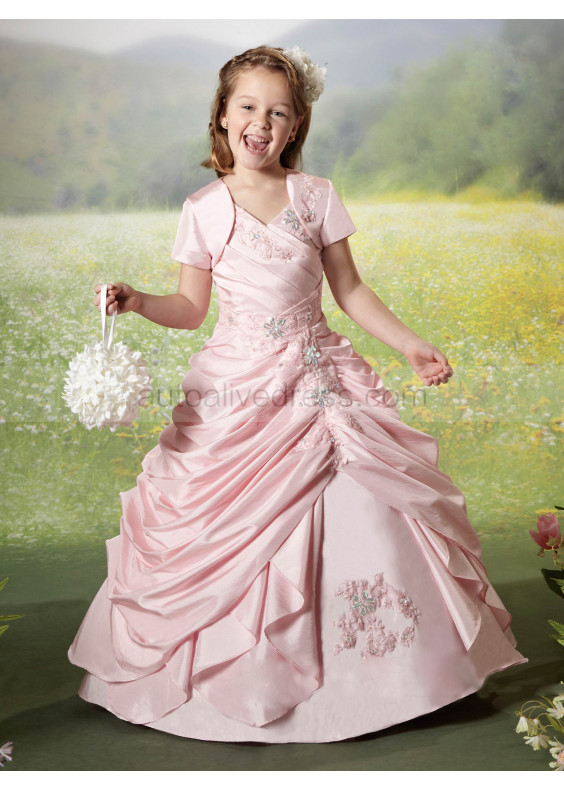 Beaded Luxury Taffeta Floor Length Flower Girl Dress Popular Girl Dress With Cape