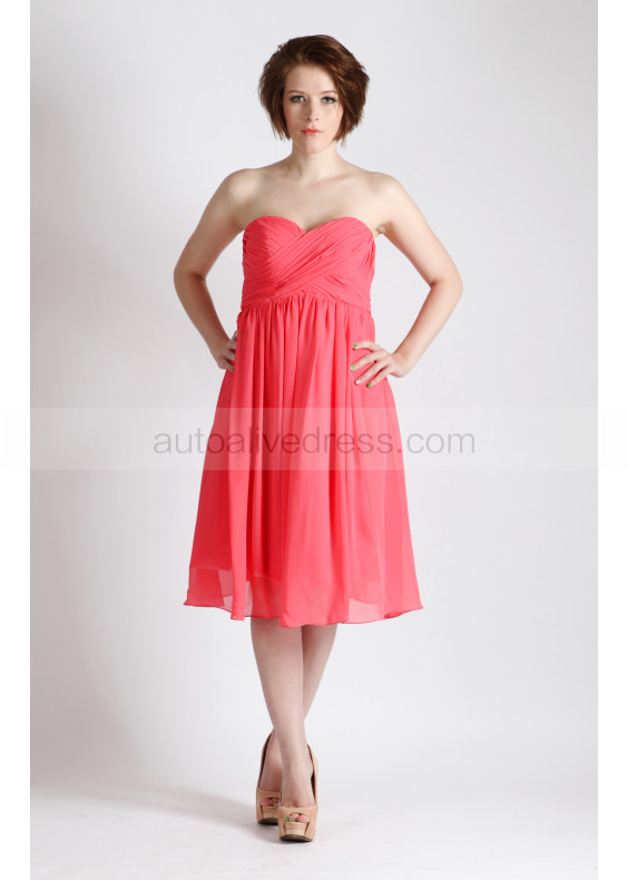 Coral Strapless Sweetheart Chiffon Knee Length Prom Dress