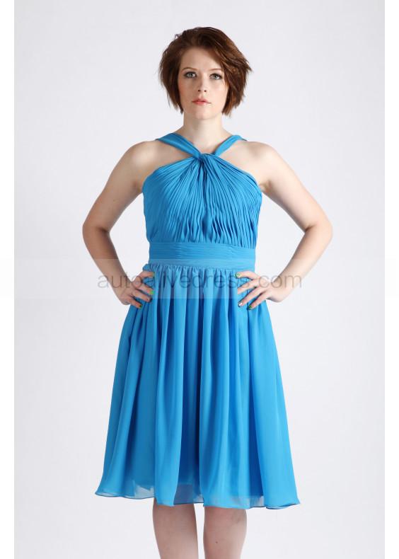 Blue Halter Ruching Chiffon Short Prom Dress