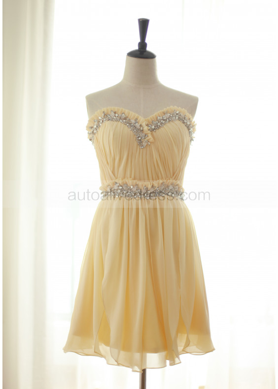Beaded Strapless Sweetheart Chiffon Short Prom Dress