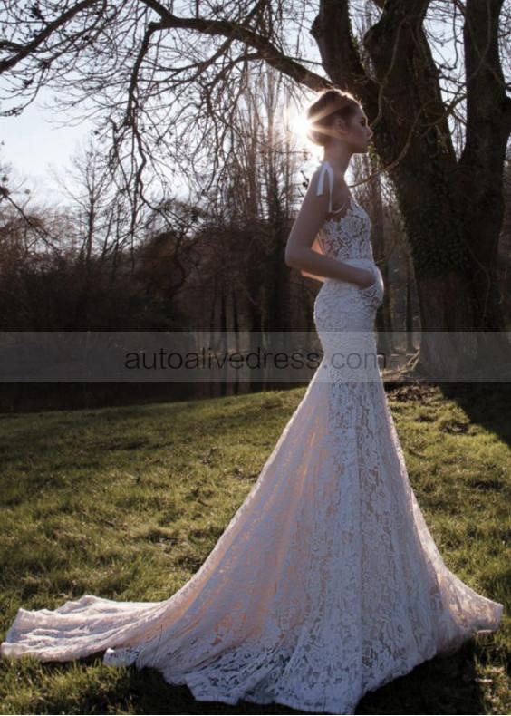 Sexy Backless Mermaid Lace Wedding Dress