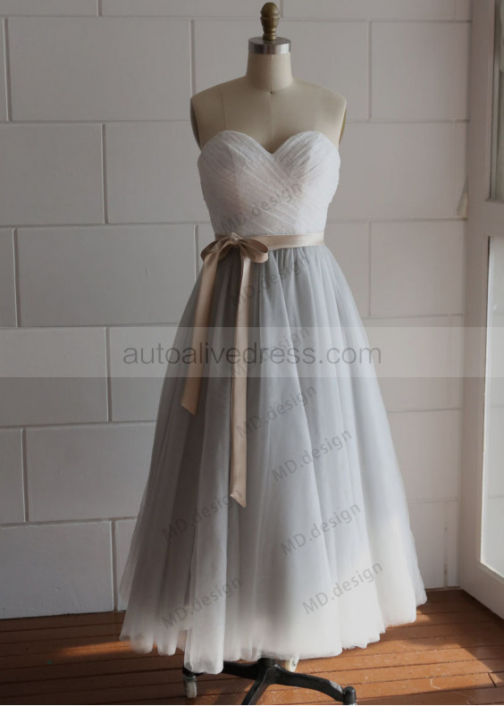 Sweetheart Lace Tulle Bridesmaid Dress