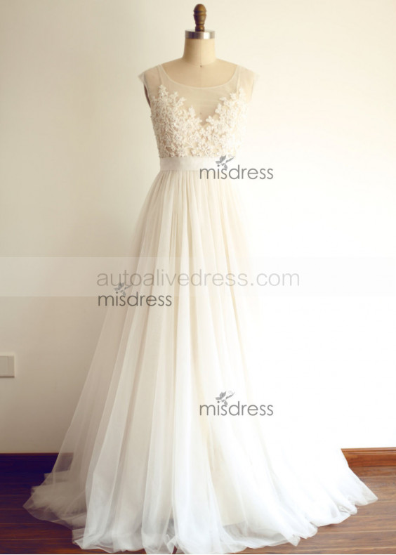 Sheer Illusion Tulle Lace Beading Wedding Dress with Champagne Lining