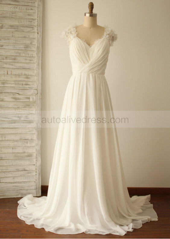 Ivory Beaded Lace V Chiffon Wedding Dress
