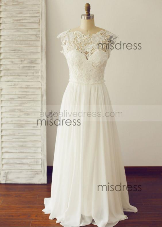 Backless Lace Chiffon Boho Beach Wedding Dress