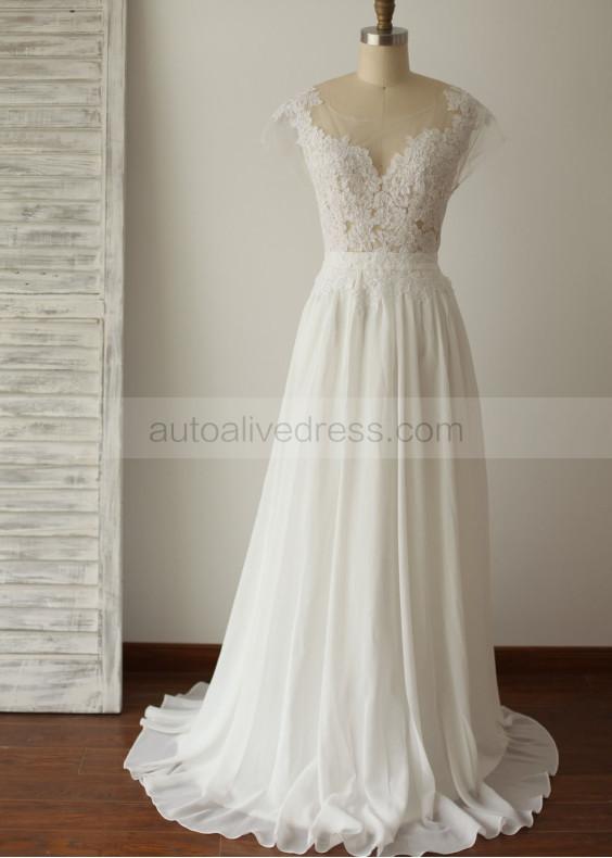 Ivory Lace Chiffon Deep V Back Wedding Dress