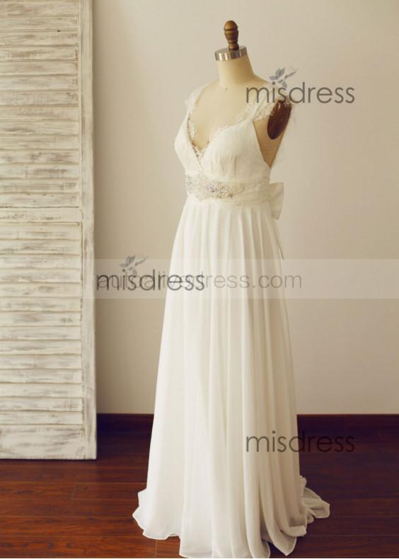 Ivory Beaded Lace Chiffon Wedding Dress