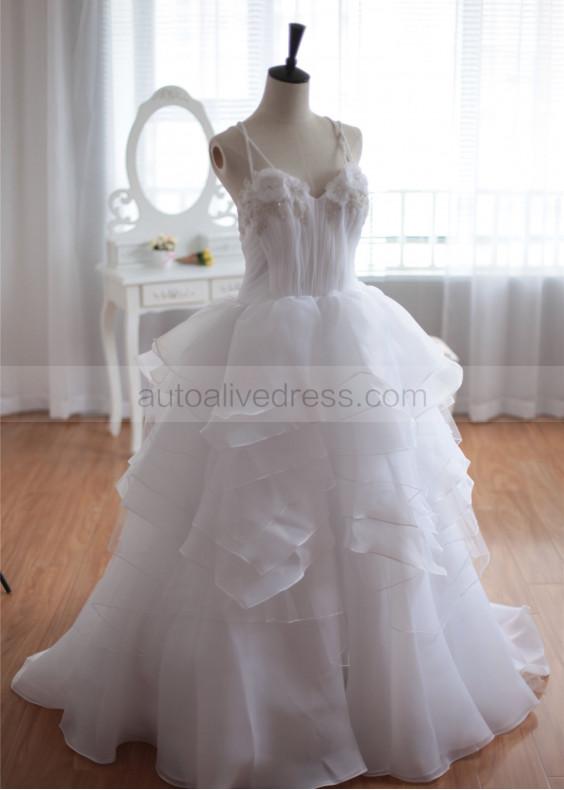 Ivory Beaded Organza Cross Back Wedding Dress