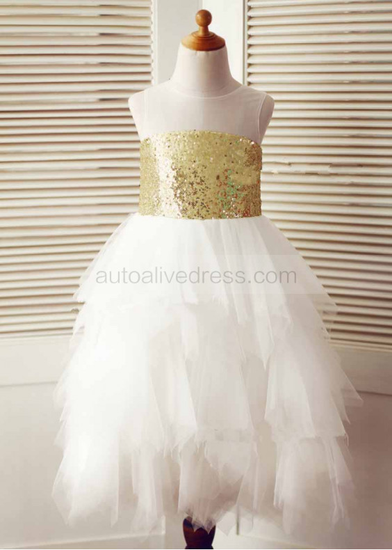 Sheer Neckline Light Gold Sequin Ruffle Tulle Tea Length Flower Girl Dress