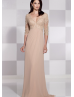 V Neckline Champagne Beaded Lace Chiffon Elbow Sleeves Prom Dress