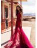 Beaded Burgundy Lace Tulle V Back Prom Dress