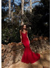 Red Beaded Lace Open Back Long Evening Dress