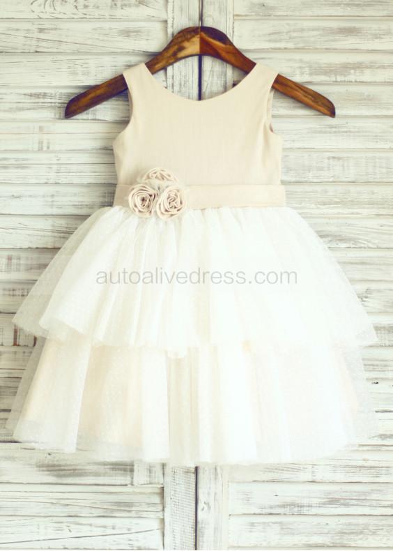 Linen Polka Dots Cupcake Tulle Flower Girl Dress