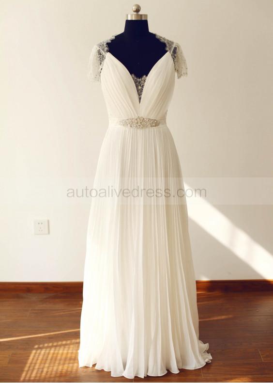 Beaded Lace Chiffon Decorative Buttons Back Long Bridesmaid Dress