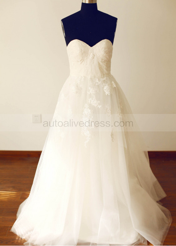 Strapless Sweetheart Lace Tulle Long Prom Dress Bridesmaid Dress