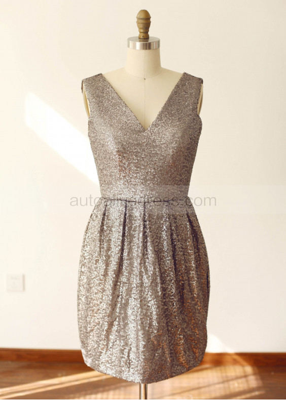 Chocolate Sequin Fitted Short Prom Dress