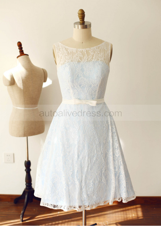 Blue Lace Short Bridesmaid Dress
