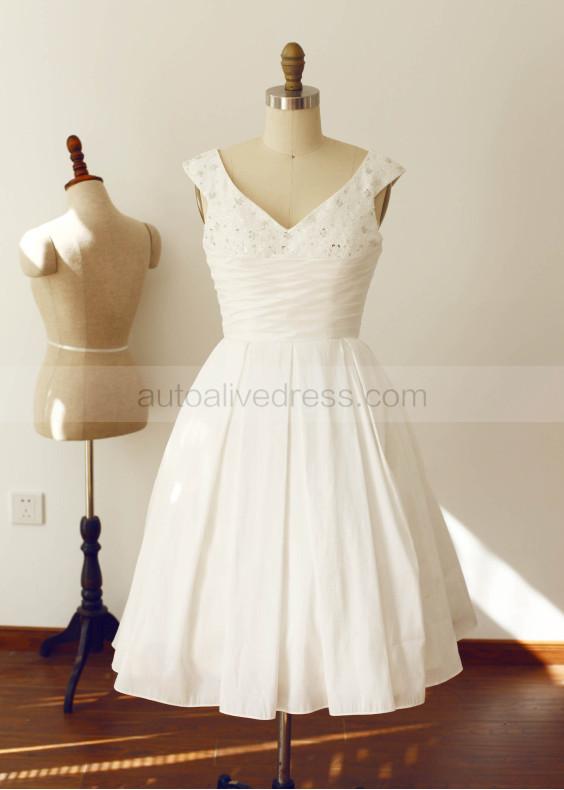 V Neckline Folded Taffeta Beads Short Prom Dress Bridesmaid Dress