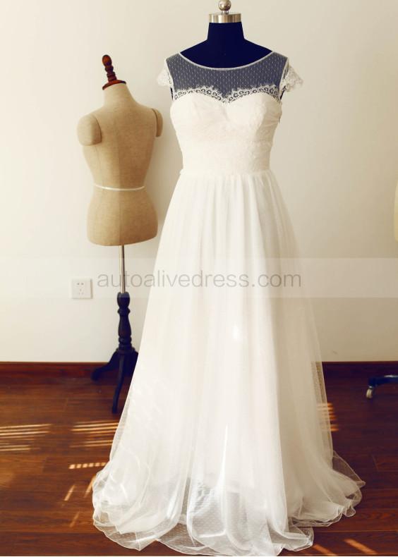 Polka Dots Tulle Lace Long Wedding Dress