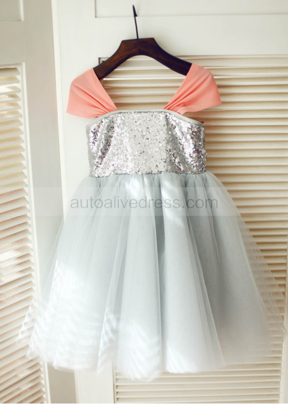 Silver Sequin Tulle Coral Chiffon Straps Flower Girl Dress