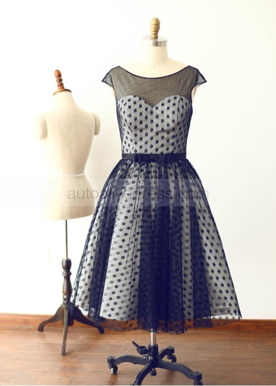 Black Polka Dots Tulle Short Prom Dress