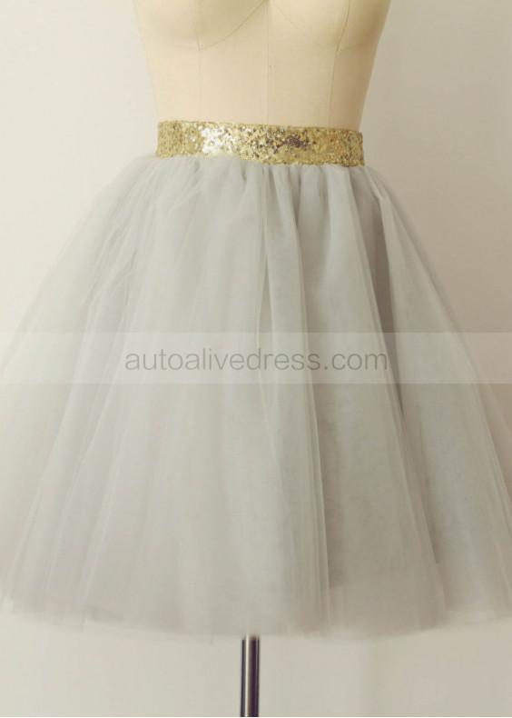 Grey Tulle Knee Length Skirt Tutu Skirt
