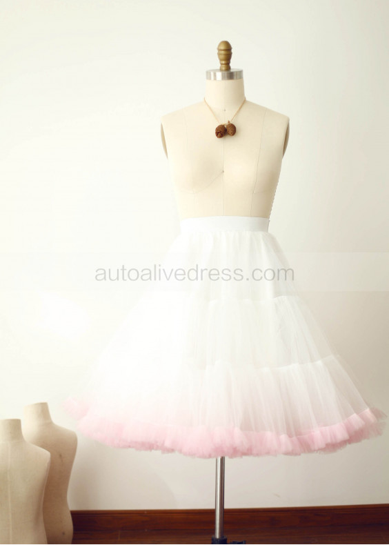 Ombre Ivory Pink Tulle Short Skirt