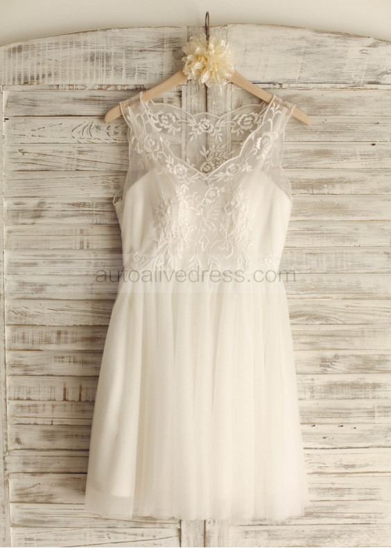 Ivory Tulle Embroidery Knee length Wedding Dress