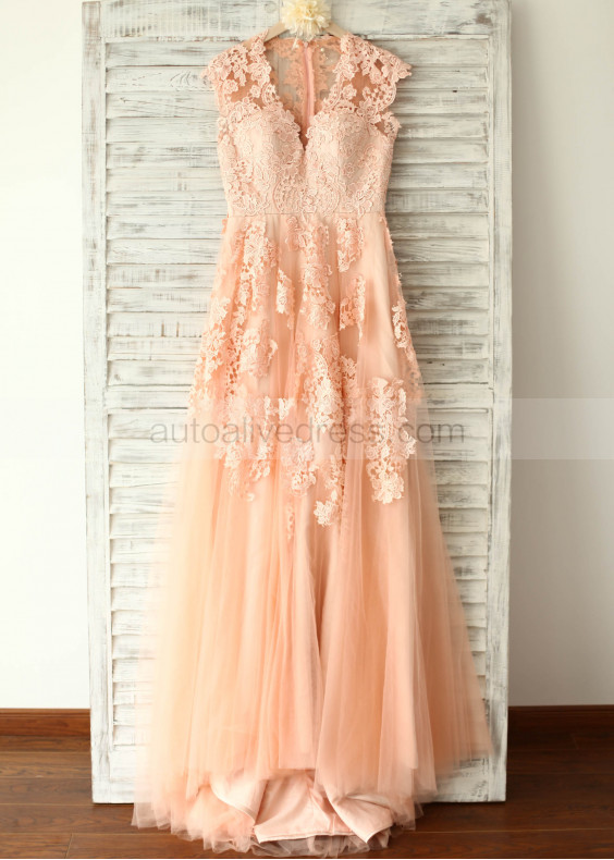 Champagne Lace Tulle Wedding Dresses