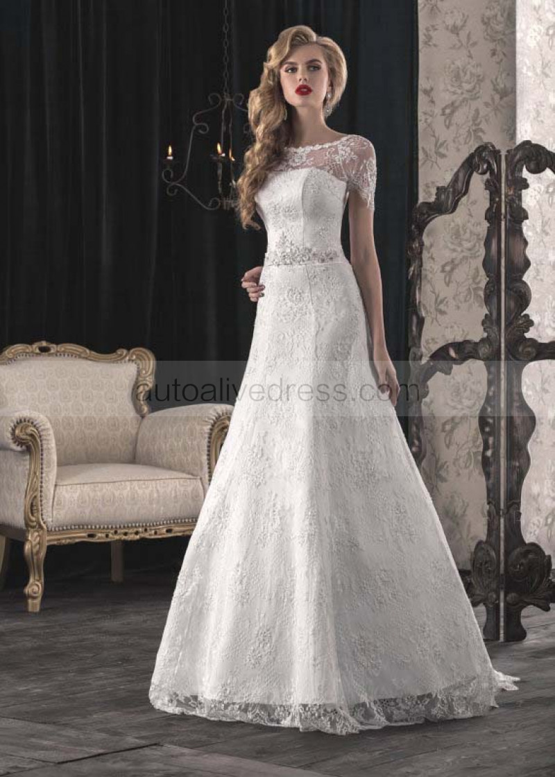 Scoop Neckline Short Sleeves Corset Back Ivory Lace Wedding Dress With Beaded Belt
