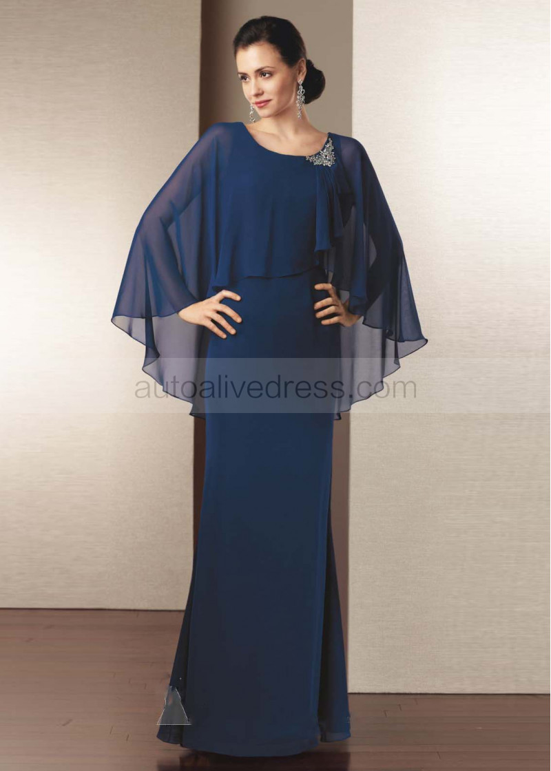Relatively Slim Navy Blue Chiffon Mother Dress With Decorated Beads FR73